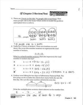 Go Math Grade 3 Chapter 3 Review/Test with Answers