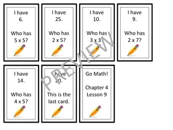 Go Math! Grade 3 Chapter 4 Lesson 9 I Have… Who Has?
