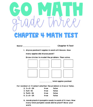 Go Math Grade 3 Chapter 4 Test