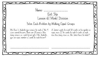 Go Math Grade 3 Chapter 6 Exit Slips