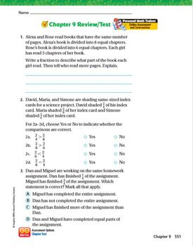Go Math Grade 3 Chapter 9 Review/Test with Answers