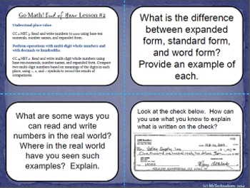 Go Math  Grade 3:Getting Ready for 4th Grade Lessons 1-5 with Task Cards