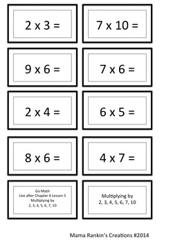 Go Math! Grade 3 Multiply with 2, 3, 4, 5, 6, 7, 10  Chapter 4 Lesson 5