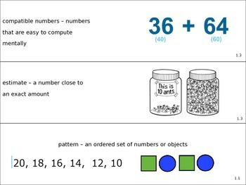 Go Math! Grade 3 Vocabulary Cards and Objectives
