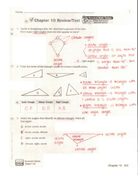 Go Math Grade 4 Chapter 10 Review/Test with Answers