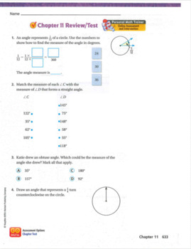 Go Math Grade 4 Chapter 11 Review/Test with Answers