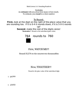 Go Math Grade 4 Chapter 1 Modified Lesson Worksheets
