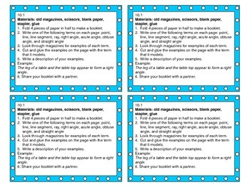 Go Math Grade 4 Chapter 10 Tier 1 Task Cards