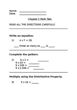 Go Math Grade 4 Chapter 2 Test Modified