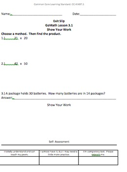 Go Math Grade 4 Chapter 3 Exit Slips Lessons 1-7