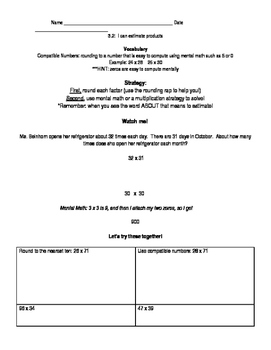 Go Math Grade 4 Chapter 3 Lessons 1,2,3, and 7 Modified Worksheets