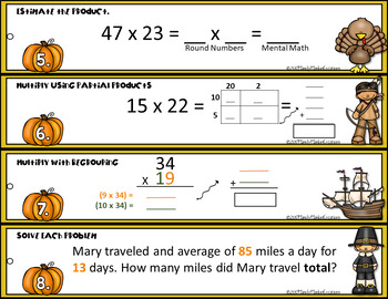 Go Math 4th Grade  Multiply by 2 Digit Numbers Math Center