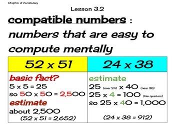 Go Math Grade 4 Chapter 3 Vocabulary Cards