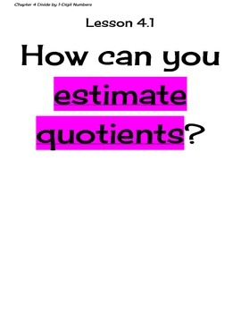 Go Math Grade 4 Chapter 4 Essential Questions and I Can Statements
