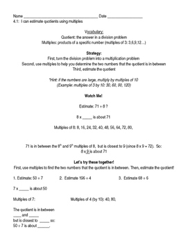 Go Math Grade 4 Chapter 4 Modified Lesson Worksheets