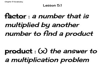 Go Math Grade 4 Chapter 5 Vocabulary Cards