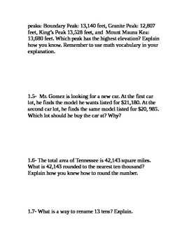 Go Math Grade 4 Unit 1 Problem of the Day without multiple choice answers