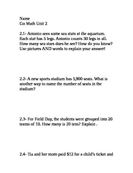 Go Math Grade 4 Unit 2 Problem of the Day without multiple choice answers