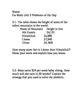 Go Math Grade 4 Unit 3 Problem of the Day without multiple choice answers
