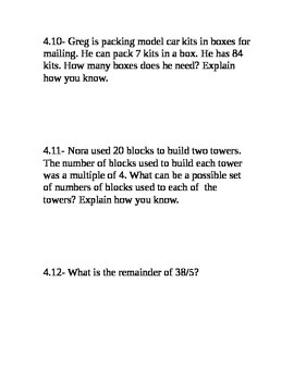 Go Math Grade 4 Unit 4 Problem of the Day without multiple choice answers