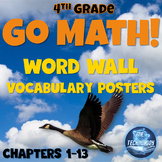 Go Math Word Wall Vocabulary Posters & Student Study Cards (4th Grade)