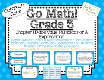 Go Math! Grade 5 Chapter 1 Essential Question, Vocabulary, I Can, Problem Day