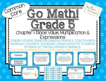 Go Math! Grade 5 Chapter 1 Essential Question, Vocabulary,