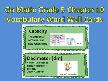 Go Math- Grade 5: Chapter 10 Vocabulary Word Wall Cards
