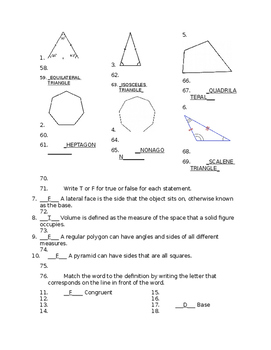 Go Math Grade 5 Chapter 11 Vocabulary Quiz by 5th Grade is ...