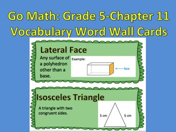 Go Math- Grade 5: Chapter 11 Vocabulary Word Wall Cards