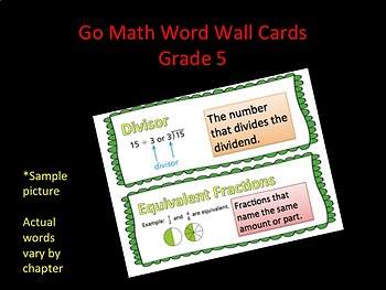 Go Math: Grade 5- Chapter 5 Vocabulary Word Wall Cards