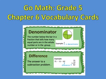 Go Math:Grade 5 Chapter 6 Vocabulary Word Wall Cards