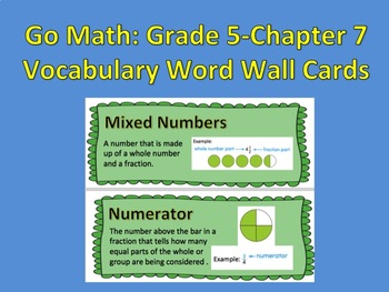 Go Math- Grade 5: Chapter 7 Vocabulary Word Wall Cards