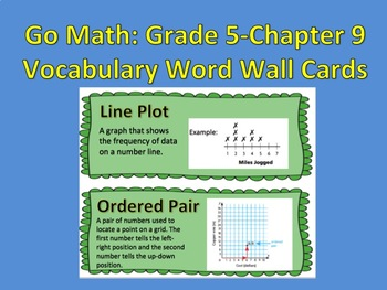Go Math-Grade 5: Chapter 9 Vocabulary Word Wall Cards