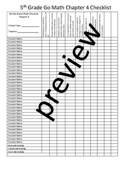 Go Math Grade 5 Chapter Checklist Conference Notes