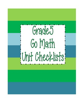 Go Math Grade 5 Checklists