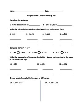 Go Math Grade 5 Unit 3 Mid Chapter Make up Test