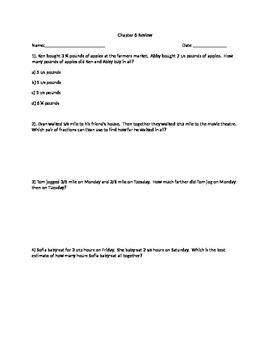 Go Math Grade 5 Unit 6 Review Problems