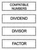 Go Math Grade 5 Vocabulary Words for Bulletin Board Unit 2