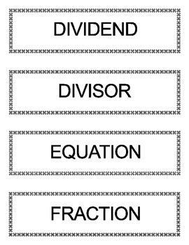 Go Math Grade 5 Vocabulary Words for Bulletin Board Unit 8