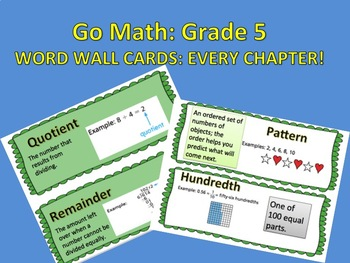 Go Math: Grade 5 Word Wall Cards Chapters 1-11 (ENTIRE YEAR)