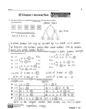 Go Math Grade 6 Chapter 1 Review/Test with Answers