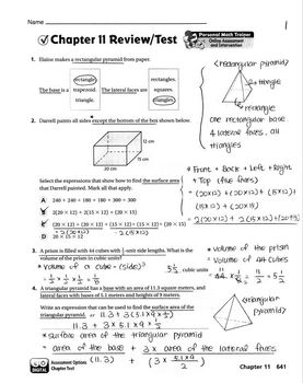 Go Math Grade 6 Chapter 11 Review/Test with Answers