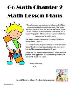Go Math Grade One: Chapter 2 Lesson Plans