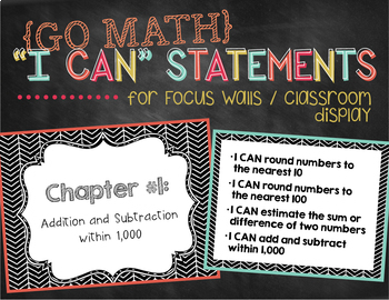 "Go Math ""I Can"" Statements / Focus Wall Posters {3rd Grade}"