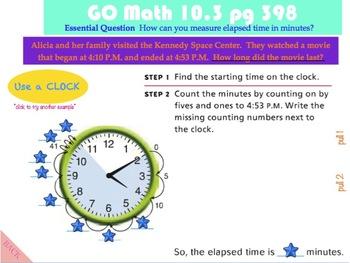 Go Math Interactive Mimio Lesson 10.3 Measure Time Intervals