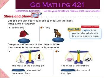 Go Math Interactive Mimio Lesson 10.8 Estimate and Measure Mass