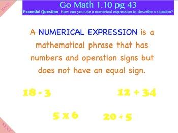 Go Math Interactive Mimio Lesson 1.10 Algebra - Numerical Expressions