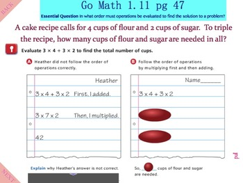 Go Math Interactive Mimio Lesson 1 11 Algebra - Evaluate Numerical  Expressions