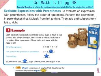 Go Math Interactive Mimio Lesson 1.11 Algebra - Evaluate Numerical Expressions